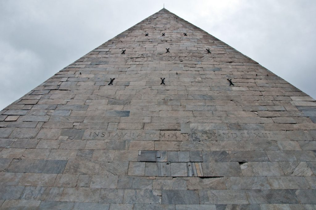 The pyramid in Rome, also known as the pyramid of Cestius